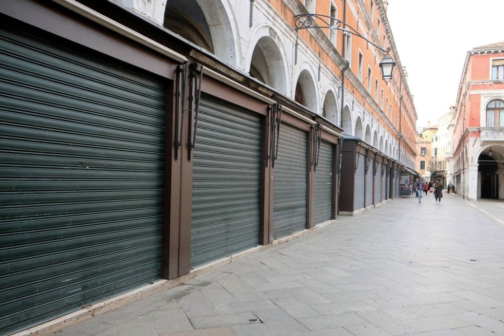 A deserted street in Venice, Italy, due to coronavirus (COVID-19)
